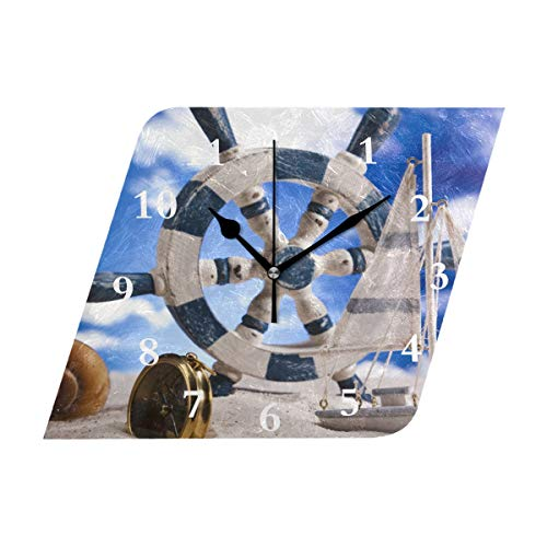 Sea Theme Seashells Ship'S Helm Silent Non Ticking Decorative Diamond Digital Clocks Indoor Outdoor Kitchen Bedroom Living Room ()