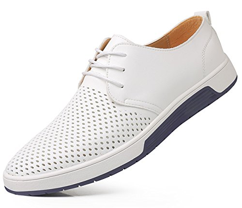 (SANTIMON Men's Shoes Casual Oxford Breathable Leather Flat Fashion Sneakers Sandals White 10.5 D(M) US)