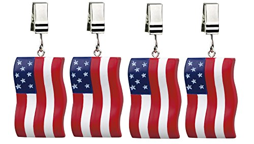 Picnic Tablecloth Weight Set - Boston Warehouse Set of 4 Tablecloth Weights, Flags Flying