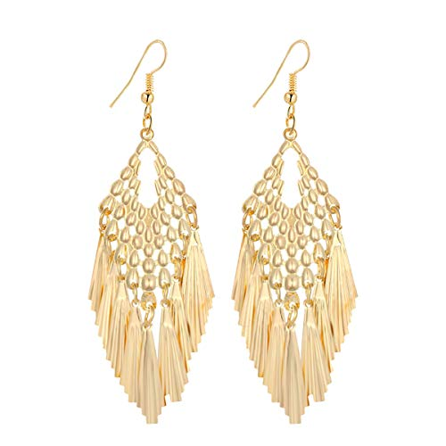(IDB Delicate Filigree Dangle Beaded Tassel Hook Earrings - Available in Silver and Gold Tones (Gold Tone))