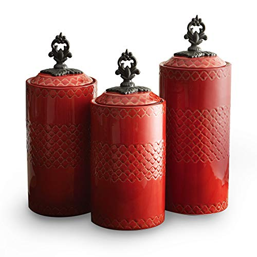 (3 pc Canister Set with Lids Size 48, 56, 64 oz, Vibrant Red Three Piece Ceramic Fancy Kitchen Canisters Metal Handles Imprinted Pattern, Shabby Chic Storage Containers Charming Decor, Earthenware)