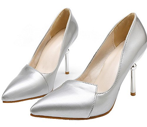 Sottolineato on Chiuso Pompe Donne Pull Tacchi Punta Solido Pu shoes Silver Weipoot Di AxqYwSEH