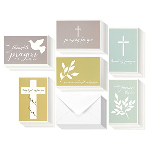 48 Pack Sympathy Greeting Cards Assortment Condolence Thinking of You Religious Cross Themed Note Cards - Blank on the Inside - Dove Foliage - Bulk Box Set - Envelopes Included 4 x 6 Inches