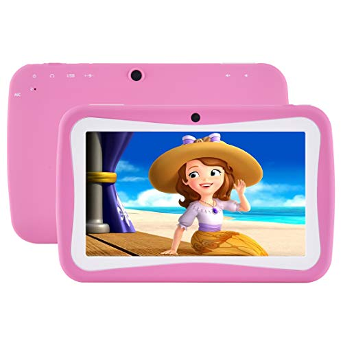 Kids Tablet, 7″ Display, Android 7.1 Edition Tablet with 1G+8G, Kids Software iWawa Pre-Installed (Pink Kid-Proof Case)