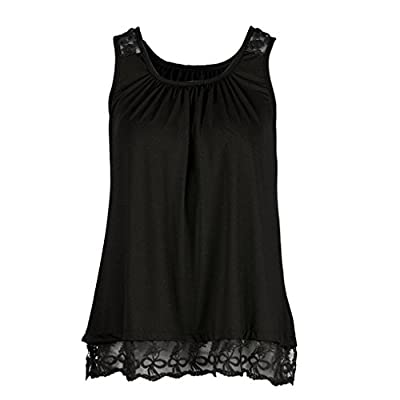 TOPUNDER Women O-Neck T-Shirt Sleeveless Tops Pure Color Lace Plus Size Vest Loose Blouse