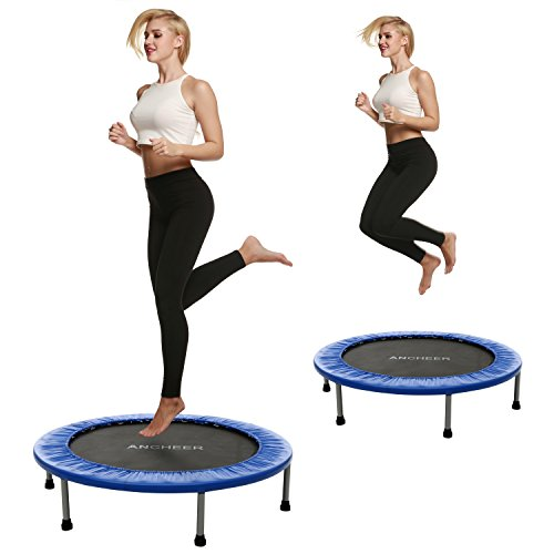 Ancheer 38inch and 40inch Trampoline Indoor Garden Trampoline - Maximum Load 150 kg, 6-8 Sturdy Feet + Safety Pad Around, Four Times folded, not folded Diameter approx 96cm, 102 cm