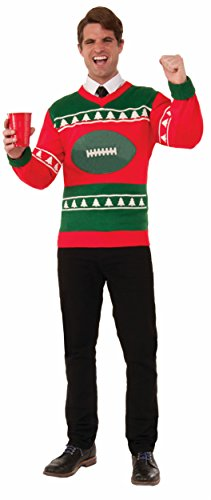 Forum Men's Plus-Size Extra Large Football Ugly Christmas Sweater, Multi, X-Large (Halloween Costume Photo Contest)