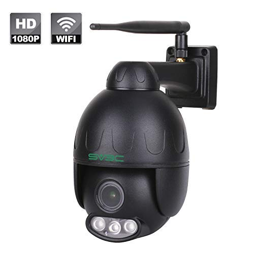 SV3C 1080P Outdoor PTZ WiFi Security Camera,Pan Tilt Zoom (5X Optical) Wireless Surveillance CCTV IP Camera with Audio,Waterproof Dome Camera,165ft Night Vision,Support Max 128GB SD Card,Black