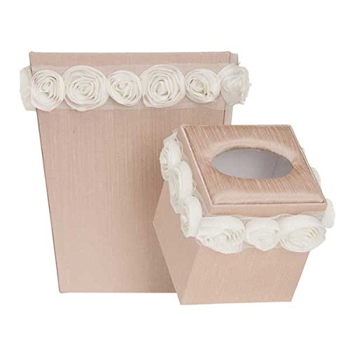 Glenna Jean Contessa Wastebasket and Tissue Cover Set, Cream/Pink by Glenna Jean