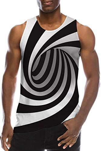 Vest Shirt for Young Men's Teen Boys School Students Compression Tank Top 3D Print Cool Black White Swirl Funny Gym Undershirts  Fashion Soft Fancy Solid Jersey Ringer Surf Casual Vest Tshirt Outfits -