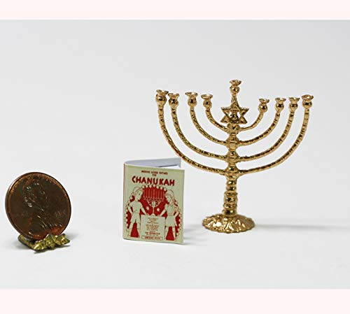 Dollhouse Miniature 1:12 Artisan Gold Jewish Chanukah Menorah with Hanukah Book