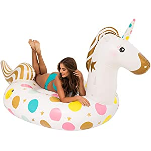 Unicorn Pool Float – Giant 107 x 44 x 55 Inches Inflatable Giant Unicorn Float Swimming Pool River Raft Float Unicorn…