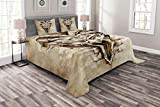 Lunarable Tattoo Bedspread Set Queen Size, Monster Creature with Open Mouth and Fantastic Wall Details Timeless Horror Art Print, Decorative Quilted 3 Piece Coverlet Set with 2 Pillow Shams, Sepia