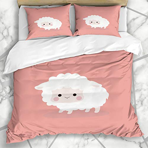 Ahawoso Duvet Cover Sets King 90x104 Flat Baby Cute Sheep Doodle Agriculture Barnyard Character Design Microfiber Bedding with 2 Pillow Shams