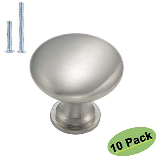 homdiy Brushed Nickel Knobs Cupboard Knobs 10 Pack Silver Drawer Pulls Stainless Steel Cabinet Knobs HD6050SNB Kitchen Cabinet Door Knobs Brushed Nickel Hardware Round Knobs