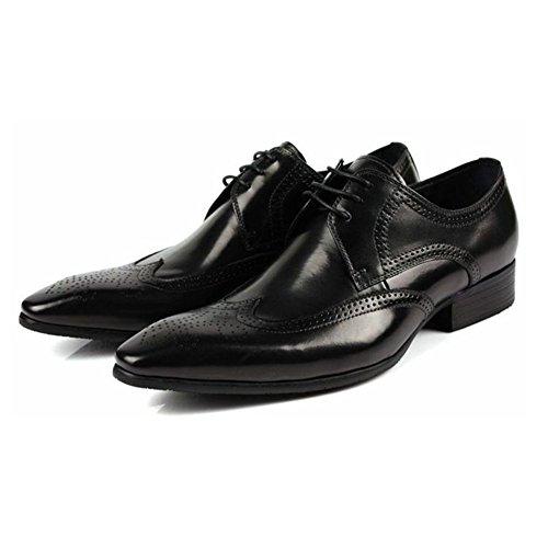 Santimon-mens Echt Nubuck Leer Gesneden Veter Oxford Oxford Schoenen Zwart