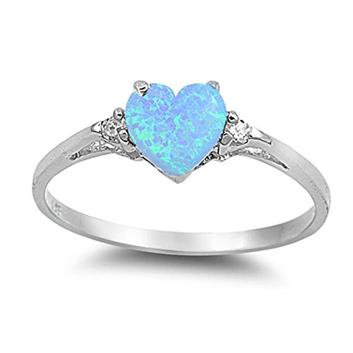 Sac Silver  Sterling Silver Light Blue Simulated Opal  Heart Promise Ring, 10