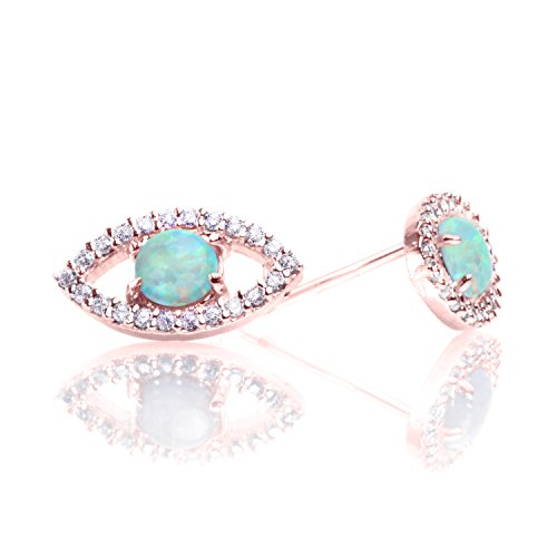 PAVOI 14K Rose Gold Plated Religious Earrings CZ Simulated Diamond White Opal Earrings Evil Eye - Eye Fashion