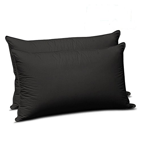 Black Sham - Twin Size Pillowcases Double Brushed Microfiber Pillow Covers Protectors Shams Set of 2 with Envelope Closure End, Wrinkle, Fade, and Stain Resistant (Twin, Black)
