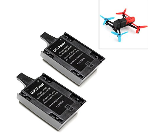 LiPo Battery 1800mAh UPGRADE 11.1V 20C For PARROT Bebop Drone 3.0 Quadcopter (2 Batteries) by MaximalPower
