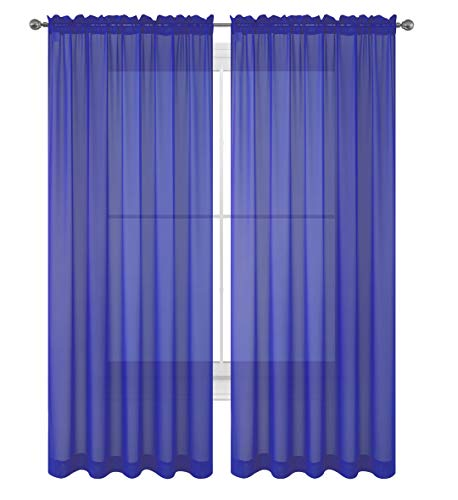 WPM/AHF 2 Piece Beautiful Sheer Window Royal Blue Elegance Curtains/drape/panels/treatment 60