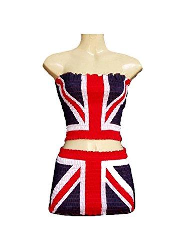 [Fashion Sexy Skirt Dress Strapless Cotton Euro 2016 Football Team Flag 2pc/order (England)] (France Costume For Girls)