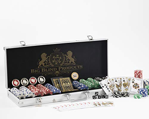 Premium 500 Piece Poker Chip Set with Aluminum Carrying Case. Upgraded Dealer, Dead Money Buttons. Original Dead Money Water Proof Playing Cards. Composite, Texas Holdem with Dice. Casino Poker Chips