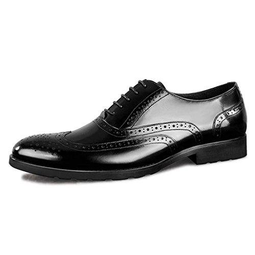 Zapatos Clásicos de Piel para Hombre Zapatos de cuero de estilo europeo para hombres Estilo británico de marea retro ( Color : Marrón , Tamaño : EU37/UK4-4.5 ) Negro