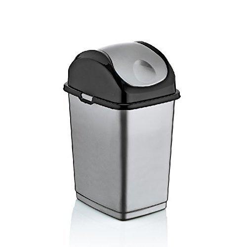 1.3 Gallon Mini Slim Trash Can Finish: Gray/Black
