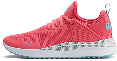 PUMA Women's Pacer Next CAGE Sneaker, Calypso Coral-Milky Blue White, 5.5 M US Big Kid -