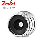 Zonlai 22mm F1.8 Large Aperture Manual Focus Lens, Prime Lens for Sony-E Mount Digital Mirrorless Cameras, NEX3, 3N, 5, 5T, 5R, 6, 7, A5000, A5100, A6000, A6300, A6500, A7 Series, A9 Silver