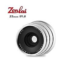 Zonlai 22mm F1.8 Large Aperture Manual Focus Lens, Prime Lens for Sony-E Mount Digital Mirrorless Cameras, NEX3, 3N, 5, 5T, 5R, 6, 7, A5000, A5100, A6000, A6300, A6500, A7 Series, A9 Silver