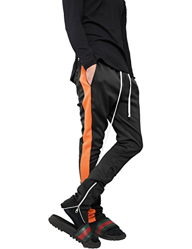 Loose Fit Sleep Pant (Hat and Beyond VW Mens Stripe Training Pants Skinny Fit Stretch Casual Elastic Athletic Slim Joggers (Small, p120_Blk/Nor))