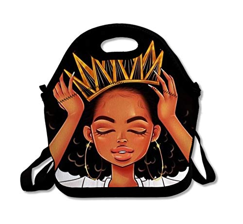 SARA NELL Neoprene Afro Girls Lunch Bag Insulated African American Girl with Crown Black Art Afro Girls Lunch Tote Bags Lunchbox Handbag with Adjustable Shoulder Strap for Work School Outdoor Picnic