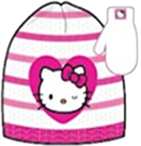 Girls 'Hello Kitty' Pink Winter Hat and Mittens Set ()