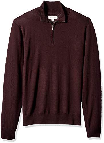 Goodthreads Men's Merino Wool Quarter Zip Sweater, Burgundy, Medium