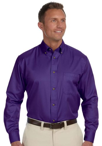 Harriton Men Easy Blend Long-Sleeve Twill Shirt with Stain-Release M Team Purple