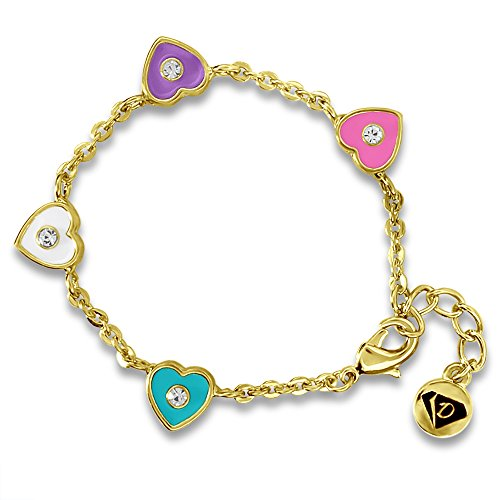 Kids Bracelets Crystal & Hearts Bangle Girls Jewelry Sets-18k Gold Plated Gift Sets