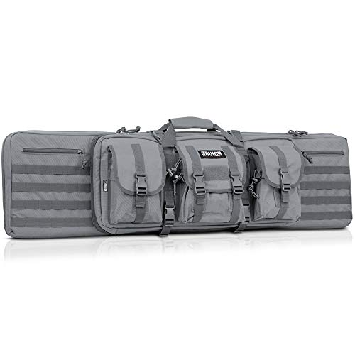 Savior Equipment American Classic Tactical Double Long Rifle Pistol Gun Bag Firearm Transportation Case w/Backpack - Lockable Compartment, Available Length in 36' 42' 46' 51' 55'