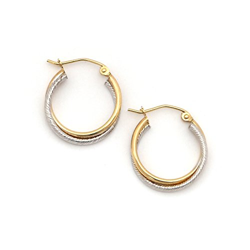 (14k White and Yellow Gold 3mm Two-Tone Twisted Double Row Hoop Earrings, 0.8