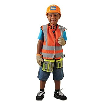 Construction-worker costume with plastic tools and hard hat High-quality fabrics and construction ensure durability. Includes vest with tool belt, hard hat, goggles, hammer, saw .