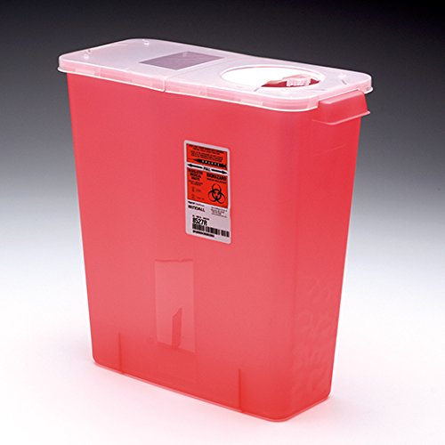 Kendall Multi-purpose Sharps Containers 3 Gallon 13.75''h X 6''d X 13.75''w Red Container W/ Hinged - Model 8527R - Each by Kendall (Image #1)