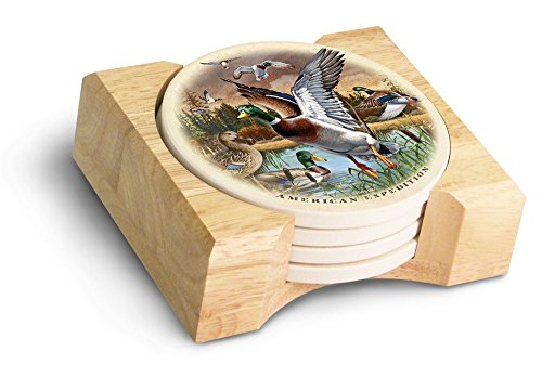 (American Expedition Mallard Collage Stone Coaster Set, Multicolor)