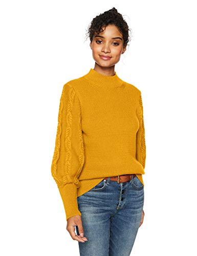 Cable Stitch Women's Cable Sleeve Ribbed Sweater Marigold X-Small ()