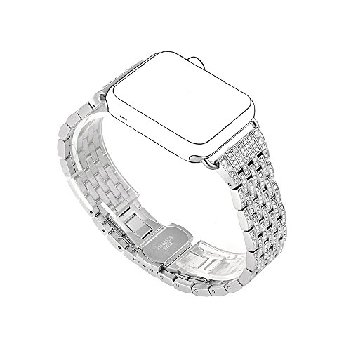 Balerion-Luxury Alloy Crystal Rhinestone Diamond Bling Watch Band Stainless Steel Watch Band for Apple Watch Series 1 Series 2 Series 3-38mm Crystal Silver
