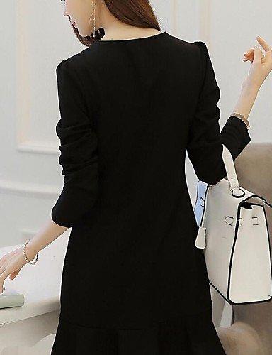PU&PU Robe Aux femmes Gaine Simple,Mosaïque Col Ras du Cou Mi-long Coton , black-s , black-s
