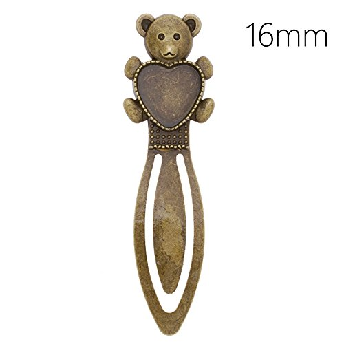 80mm Antique Bronze Plated Bear Bookmark with 16mm Heart Blank Bezel-10pcs