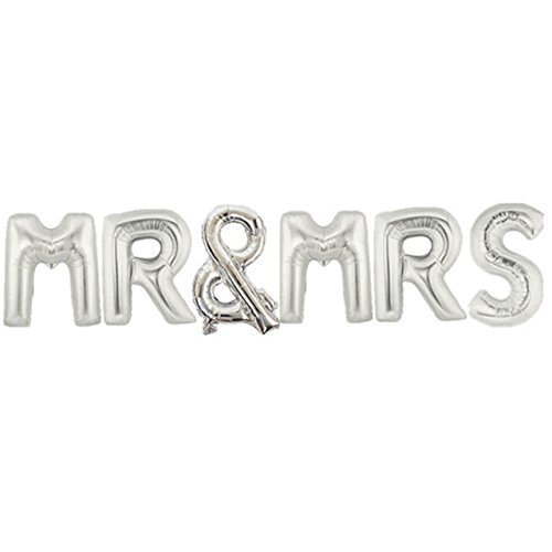 Yalulu 16inch MR & MRS Letter Wedding Foil Balloon Mylar Balloons for Wedding Birthday Party Decoration (Silver)