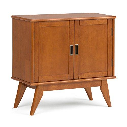 Simpli Home 3AXCDRP-05-TK Draper Solid Hardwood 32 inch wide Mid Century Modern Low Storage Cabinet in Teak Brown