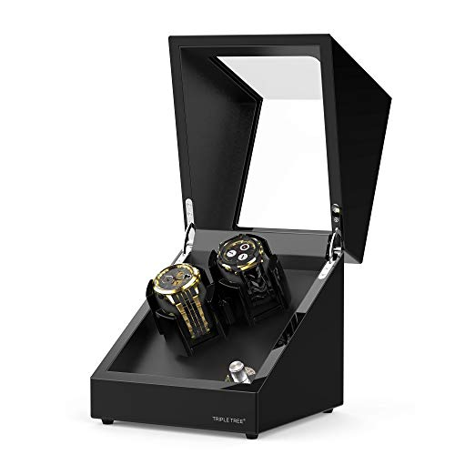TRIPLE TREE Double Watch Winder for Automatic Watches, Wood Shell Piano Paint Exterior and Extremely Silent Motor, with Soft Flexible Watch Pillows, Suitable for Ladies and Men's Wrist